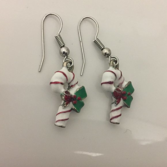 Candy Cane holiday christmas dangle earring